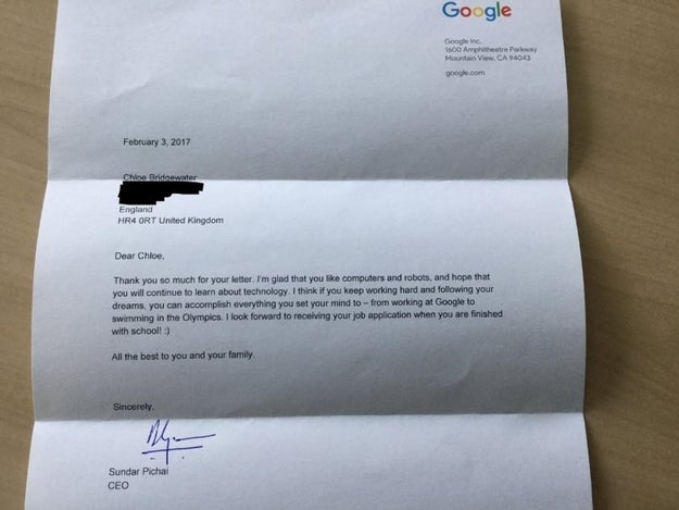Andy Bridgewater shared a post on LinkedIn, explaining how after Pichai received Chloe's letter, the CEO surprisingly replied to the letter, and that too, pretty quickly.
