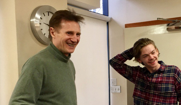 That's right. It's Liam Neeson (Daniel) and Thomas Brodie-Sangster (Sam). The. Turtlenecks. Are. Back.