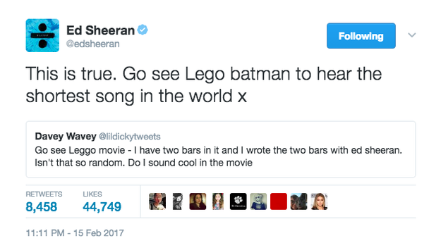 Ed Sheeran wrote the world's shortest song.
