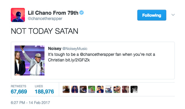 Chance the Rapper set the record straight.
