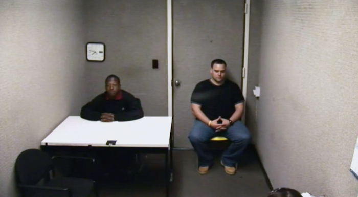 Kalief Browder being questioned in May 2010 after being accused of stealing a backpack in the Bronx.