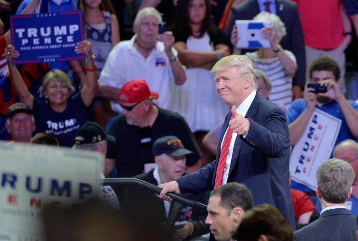 """Donald Trump at the rally where he addressed """"Second Amendment people."""""""