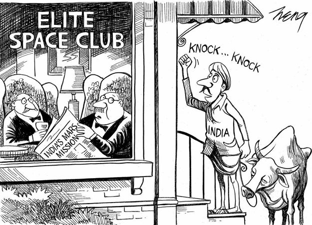 Which is totally fair, because let's go back a few years to 2014. After India launched Mangalyaan, the satellite to Mars, The New York Times weighed in with this cartoon.