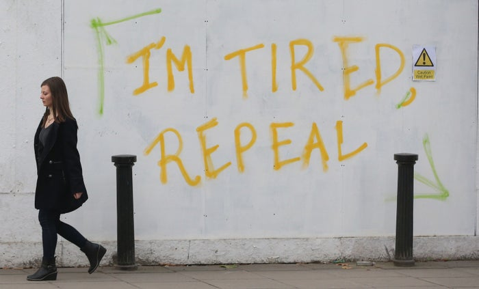 Graffiti on Pearse Street in Dublin, calling for a referendum to repeal the eighth amendment of the constitution of Ireland.