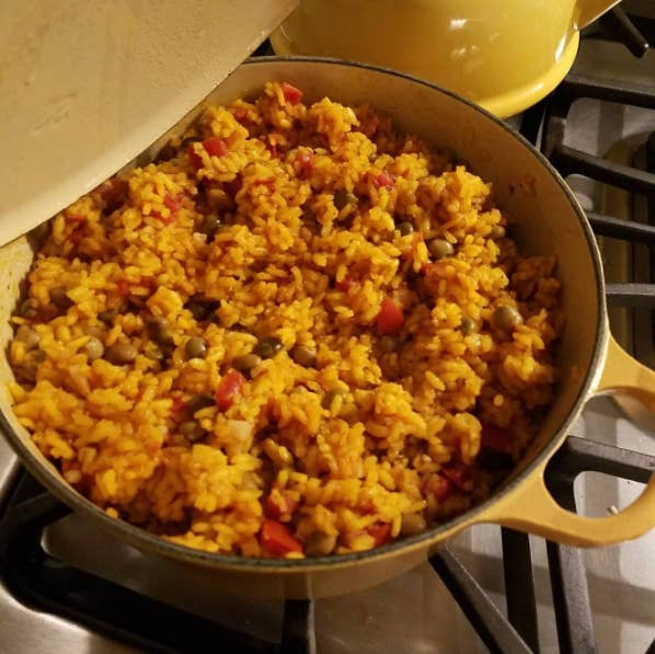 What is it: A combination of rice, pigeon peas, and pork, cooked in the same pot with sofrito. It is one of the signature rice dishes of Puerto Rican cuisine.Taste: Like substance of the gods. Conclusion: Pernil + arroz con gandules = #winning Get a recipe here.