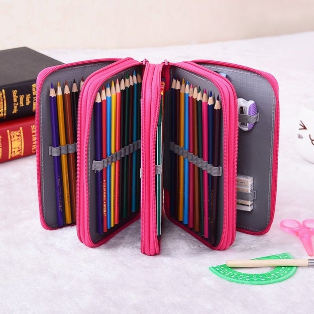 File away coloring and drawing pencils, (as many as 72!), in this zip-able pouch.