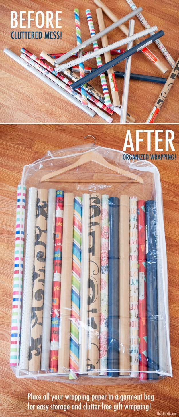 This wrapping paper storage trick that you've been avoiding because you would so much rather watch Netflix.