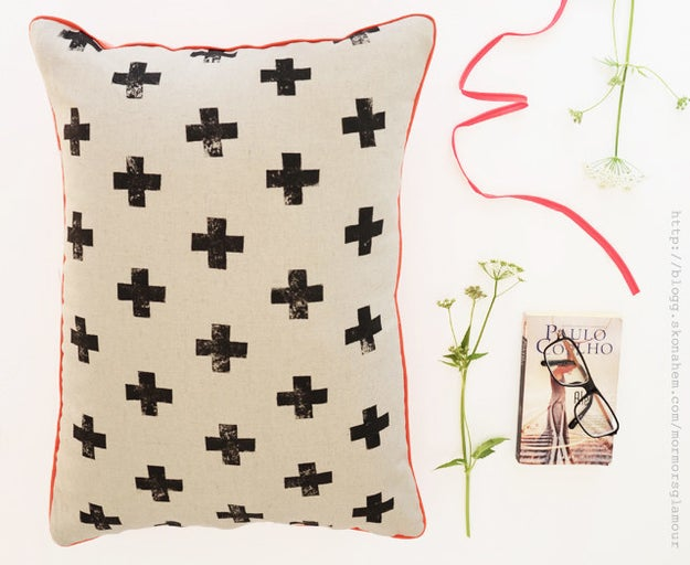 This stamped pillow that you would make but you're just so tired and all you want to do is cozy up with a blanket and a pillow—oh wait.