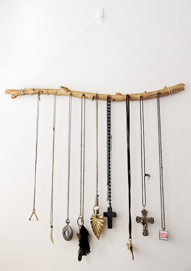 This driftwood jewelry hanger that requires you to actually leave the house.
