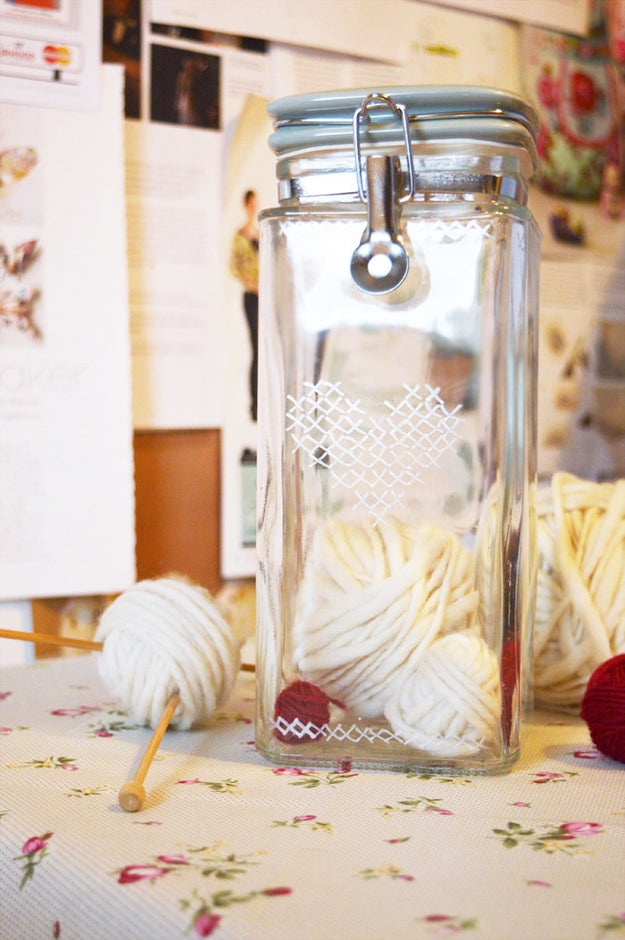Stash similar, oft-used supplies in clear jars so you can easily access them when you get the crafting itch.