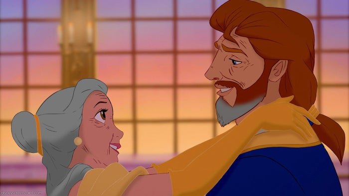 Belle and Adam continue to live in the castle with Lumière, Cogsworth, and Mrs. Potts, who are now all retired.