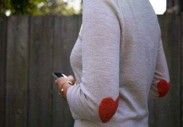 These heart elbow patches because you don't actually like anything warm or fuzzy or cute.