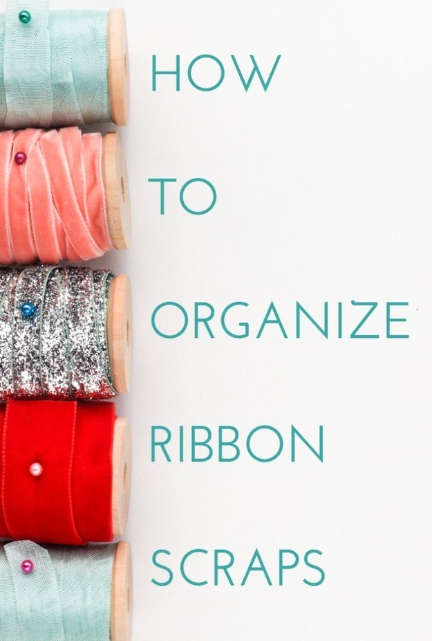 Organize ribbon scraps by winding them up on wooden spools.