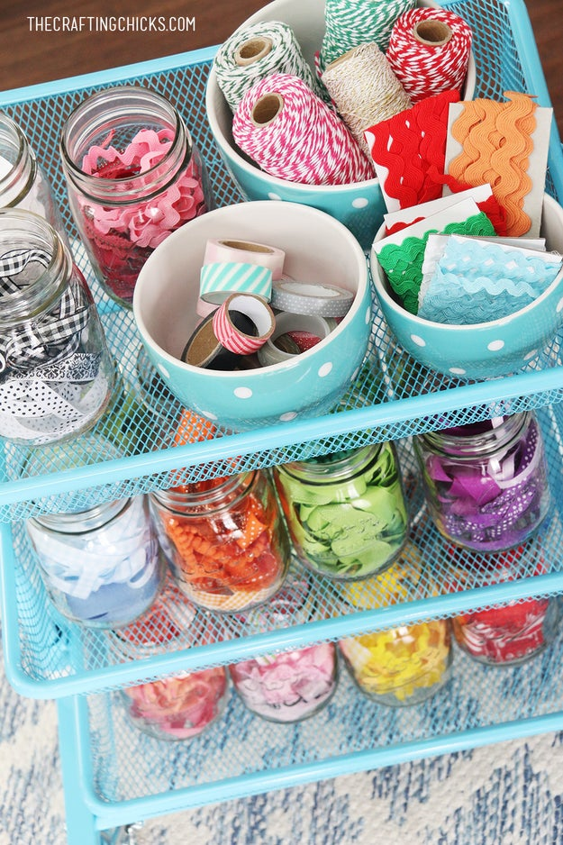 Corral all your small-scale storage containers onto a rolling cart with raised edges so you won't lose any precious storage jars or bowls.