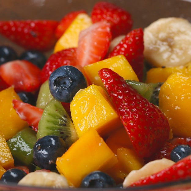 Rainbow Fruit Salad With Honey Lime Dressing - The Most Viral ...