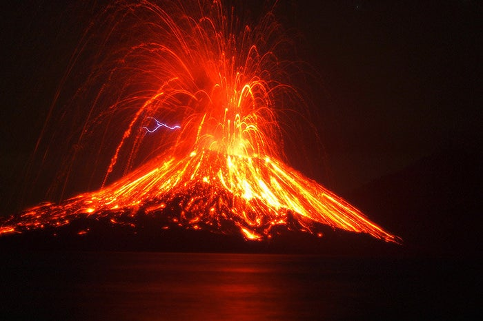 This huge eruption in Indonesia was one of the most destructive volcanic events in history, killing 36,000 people. The volcano first erupted, then underwent a cataclysmic explosion; the noise of the explosion was so loud (180 dB) that it was heard 2,000 miles away in Perth, Australia. Afterwards, it was discovered that the entire island of Krakatoa had been almost completely obliterated.