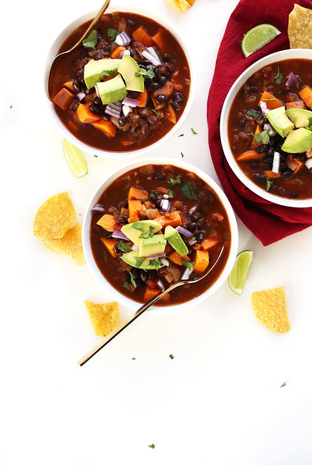 Stew a vegetarian chili that feeds a table of six with just five ingredients.
