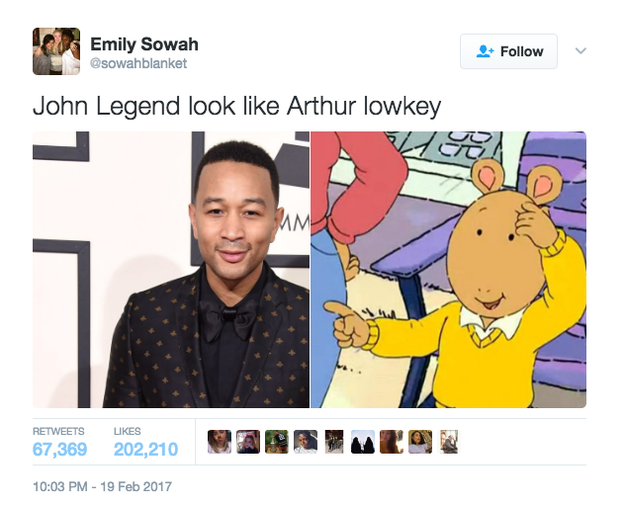 Over the weekend, Twitter user @sowahblanket tweeted a side-by-side photo of Legend and Arthur and claimed they look alike. The tweet became viral gold.