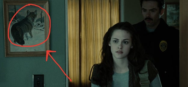 There's a picture of a wolf on Bella's bedroom wall in her home. ~Foreshadowing~ perhaps?