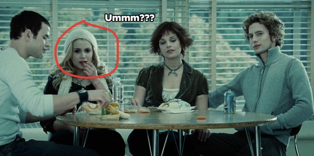 Rosalie is eating a carrot at lunch even though vampires can't EAT ANYTHING! WTF, ROSALIE?!