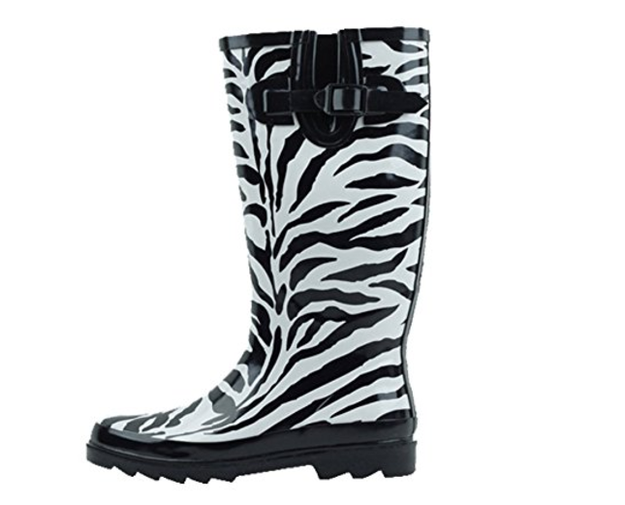 Bold zebra-print boots for the brave.