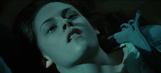 Bella goes kinda cross-eyed when Edward starts sucking her blood.