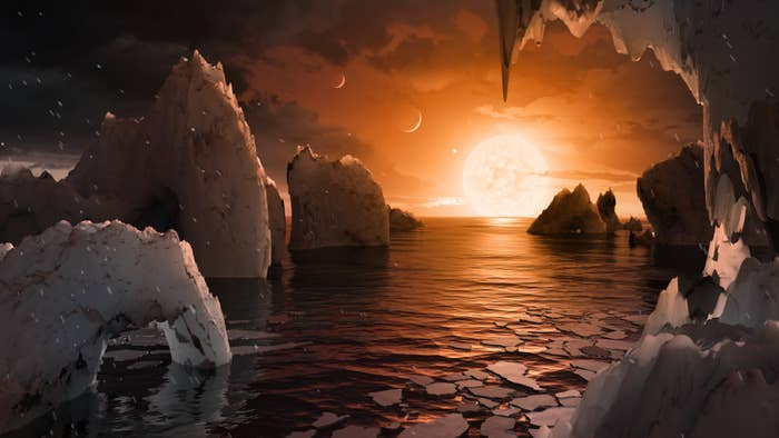 This illustration shows the possible surface of TRAPPIST-1f.