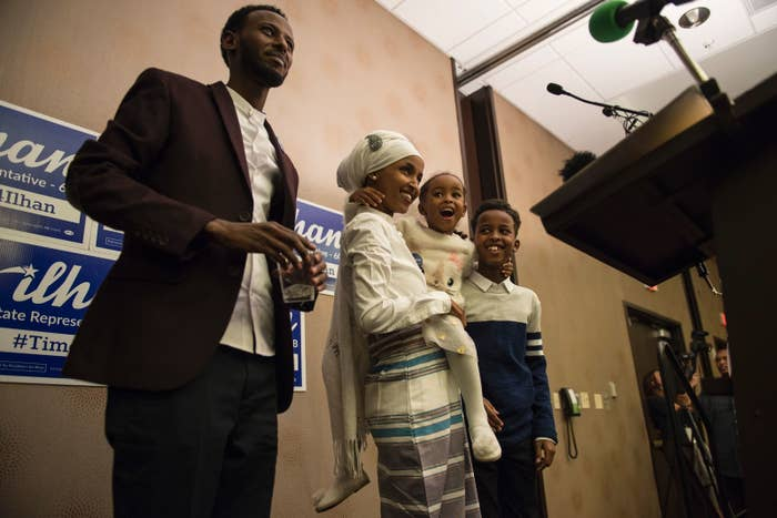 Ilhan Omar with her family on election night.
