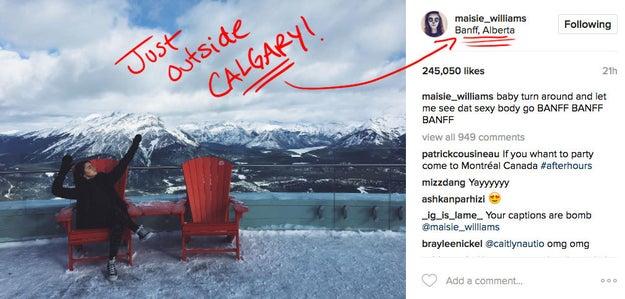 """Porque, de acordo com o site Watchers on the Wall, Maisie Williams foi vista recentemente na cidade de Calgary, no Canadá. E os fãs que moram lá disseram que ela estava na cidade """"filmando""""."""