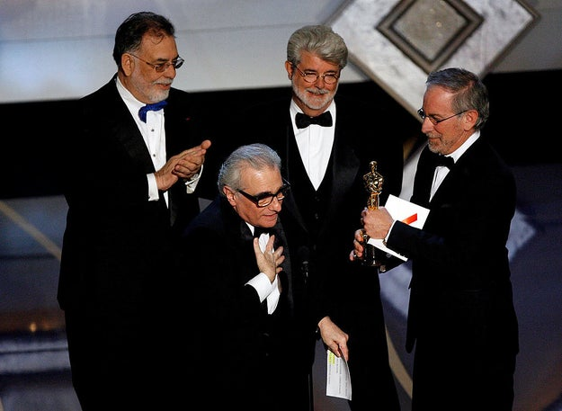 Martin Scorsese — surrounded by his friends and fellow directors Francis Ford Coppola, George Lucas, and Steven Spielberg — finally won an Oscar for Best Director for his work on The Departed. He had previously been nominated five times.
