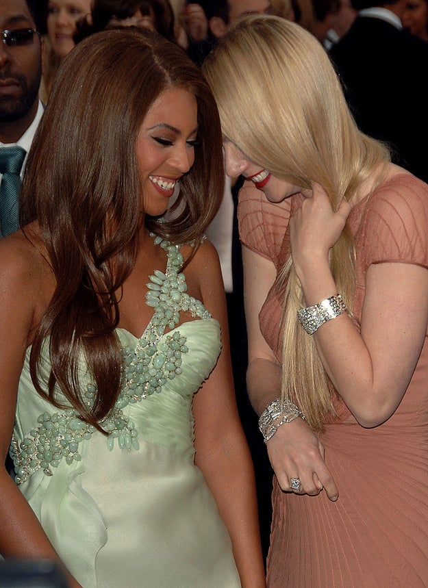 Beyoncé and Gwyneth Paltrow shared a laugh together on the carpet.