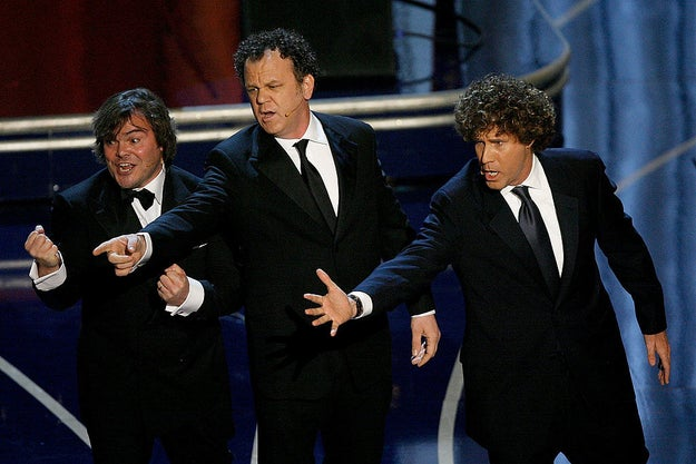 Jack Black, John C. Reilly, and Will Ferrell broke out into song as they presented the award for Best Makeup.