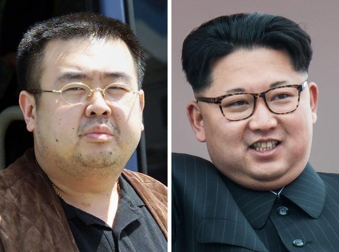 Kim Jong Nam (left) and Kim Jong Un.