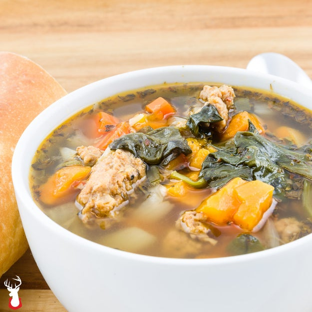 Turkey Sausage Sweet Potato Spinach Soup