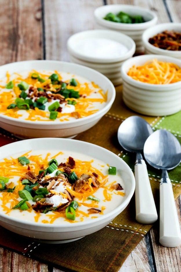 Instant Pot Low-Carb Loaded Cauliflower Soup