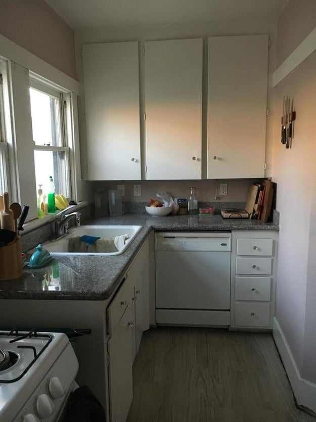 This cramped bungalow kitchen...
