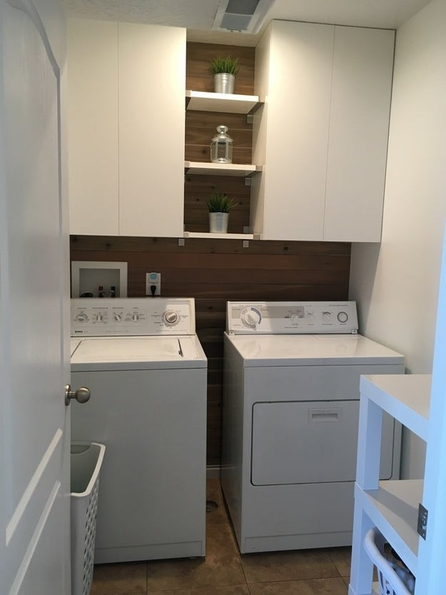 ...that became a minimalist laundry room with lots of nice-looking storage space.