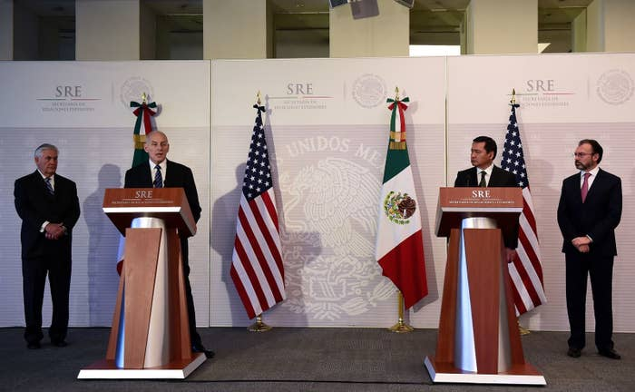 US Secretary of State Rex Tillerson, US Homeland Security chief John Kelly, Mexican Interior Minister Miguel Angel Osorio Chong and Mexican Foreign Minister Luis Videgaray