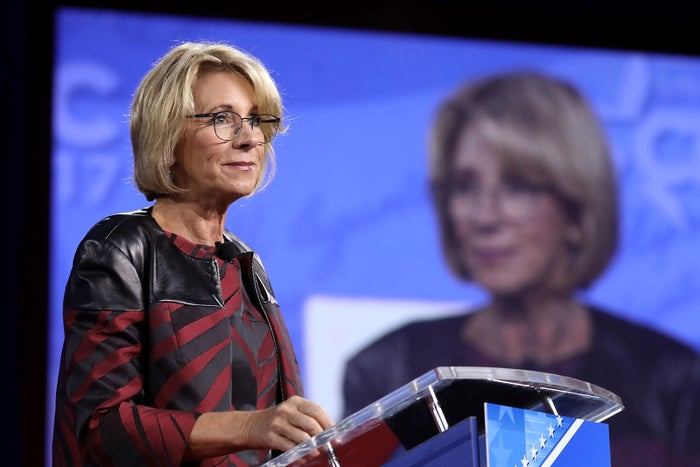 U.S. Secretary of Education Betsy DeVos addresses the Conservative Political Action Conference.