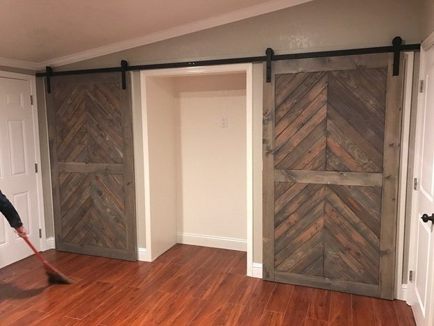 ...that were reworked into a dressing area with awesome sliding barn doors.