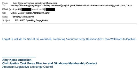 A 2013 email from ALEC to Pruitt and his staff about a speaking engagement.