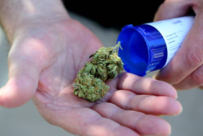 SALEM, MA - JUNE 24: Chuck Grant displays his medical marijuana that he picked up from Massachusetts first medical marijuana dispensary in Salem. It is about 7 grams of marijuana that was in his bottle. He suffers from sleeplessness and arthritis. (Photo by Jonathan Wiggs/The Boston Globe via Getty Images)