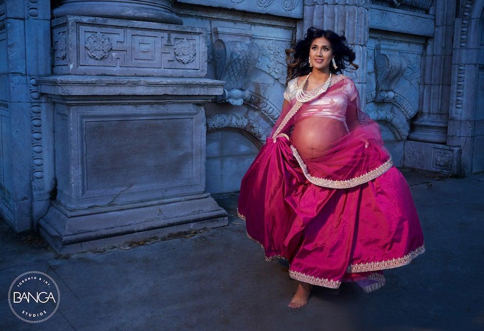 Maternity Shoot | Lehenga for Moms to be | Dark Pink Lehenga and Silver blouse | Function Mania