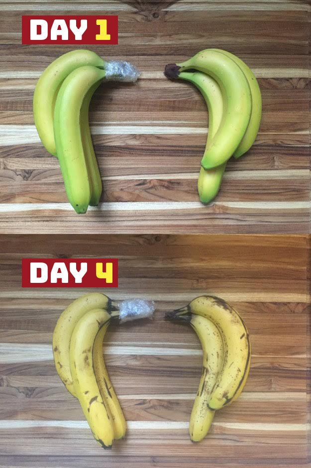 THE IDEA: The plastic wrap is supposed to help contain ethylene gas, which bananas produce as they ripen — causing them to brown over time.DID IT WORK?: Not really. THE RESULTS: By day 4, both sets of bananas had ripened at the pretty much the same pace — with the wrapped ones being only slightly less dotted than the unwrapped ones. All in all: Not a significant difference. 👎 —Melissa Harrison
