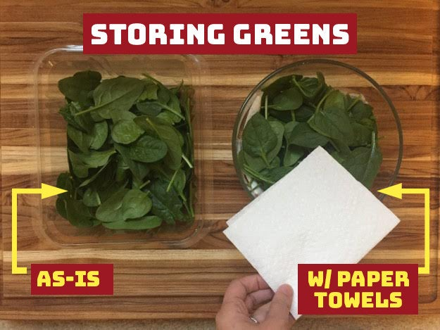 THE IDEA: The paper towels are supposed to absorb excess moisture over time, which keeps the greens drier longer in the fridge — and extends their shelf-life.DID IT WORK?: Yep! Like a charm.THE VERDICT: The spinach that was stored solo lasted about a week before it started to get noticeably wilty all over. But the spinach that was stored with folded paper towels above and below it lasted closer to a week and half — and even then, I could pick out the most wilted pieces and still be left with usable ones. —M.H.