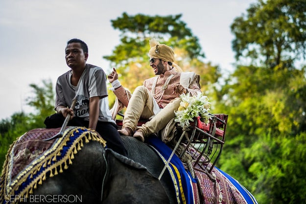 The groom rode in on an elephant, while rocking a regal sherwani.