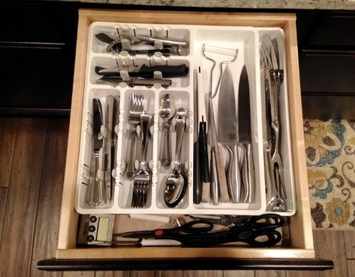 Kitchen utensil drawer organizers