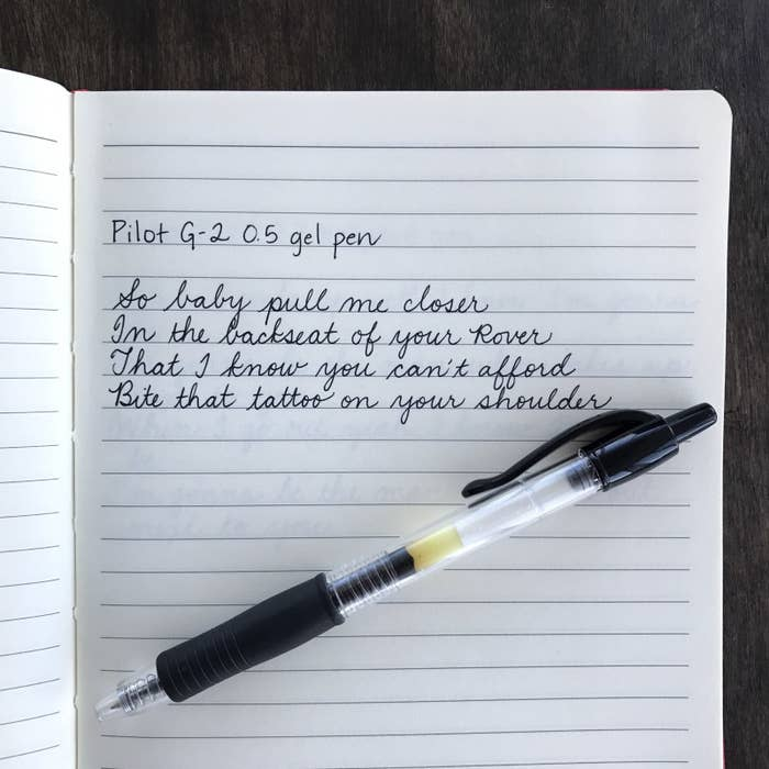 This is one of my all-time favorite pens. It's smooth, lasts a while, can be found at pretty much any store that sells pens, and you don't have to worry about keeping track of the cap. It also comes in other sizes, but the 0.7 is too thick and the 0.38 is so thin that it drags across the paper.