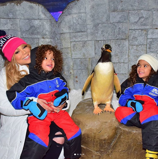 Mariah Carey and her kids met a penguin.