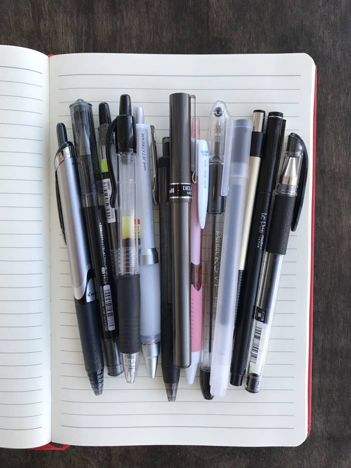 Three things to note before we get started: 1) I am extremely biased toward gel pens, clickable pens, and pens with tips that are 0.5 mm and under. 2) I couldn't include every pen I've ever tried on this list, so if your favorite isn't here, don't come for my credentials, nerds. 3) To anyone who says they don't care what pen they use: GO AWAY, THE ADULTS ARE TALKING.